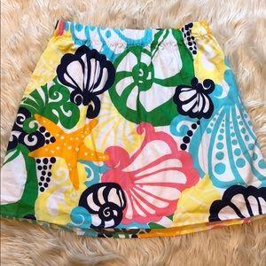 Lilly Pulitzer mini skirt with starfish, seashells
